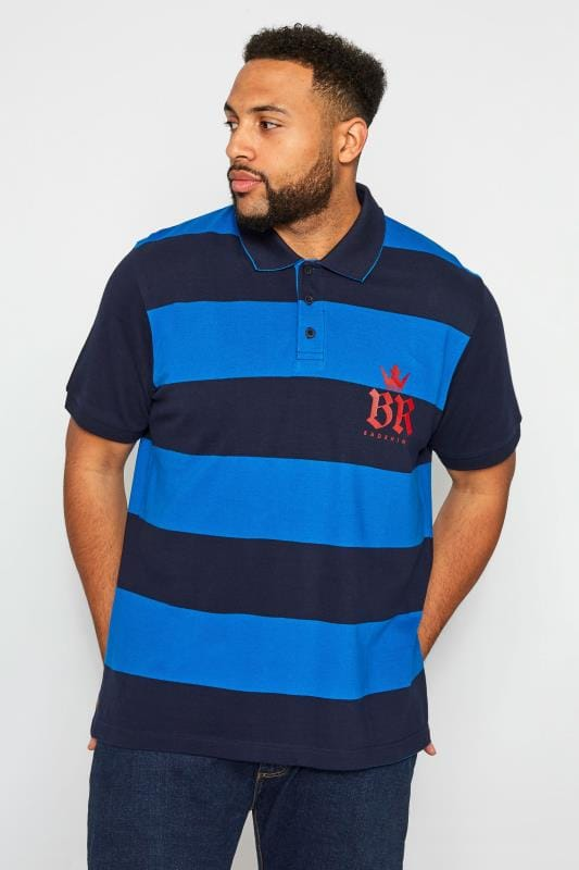 Polo Shirts BadRhino Navy & Blue Block Striped Polo Shirt 201094
