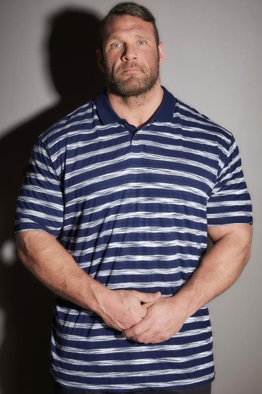 BadRhino Navy & Blue Stripe Polo Shirt