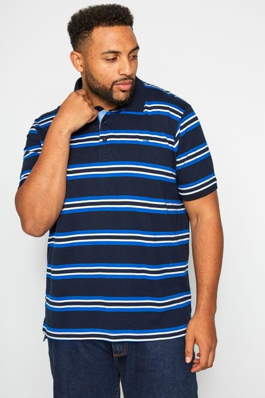 Polo Shirts BadRhino Navy & Blue Striped Polo Shirt 201192