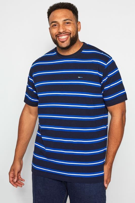 Große Größen T-Shirts BadRhino Navy & Blue Striped T-Shirt