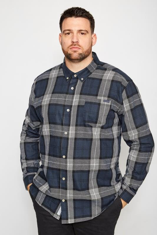 Casual Shirts BadRhino Navy Brushed Checked Shirt 200670