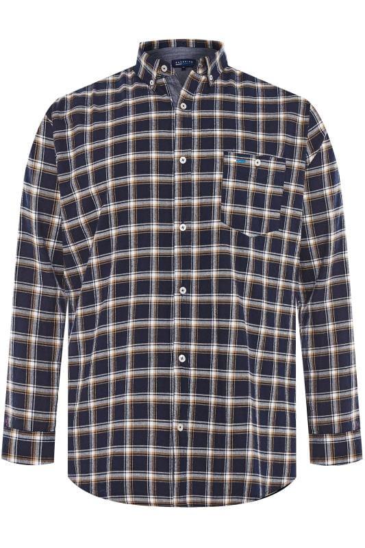 BadRhino Navy Brushed Herringbone Checked Shirt