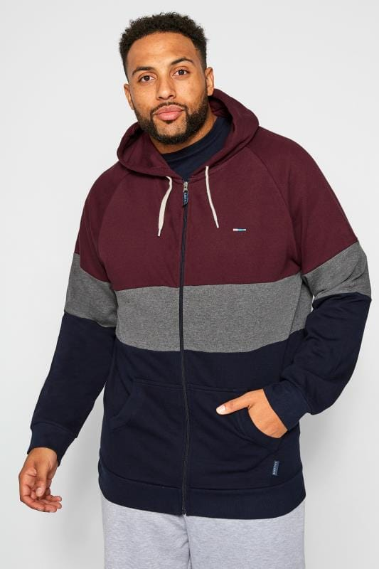 Plus Size Hoodies BadRhino Navy & Burgundy Zip Through Hoodie