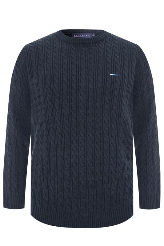 BadRhino Navy Cable Knit Jumper
