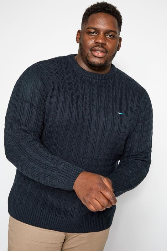 Plus Size Jumpers BadRhino Navy Cable Knit Jumper