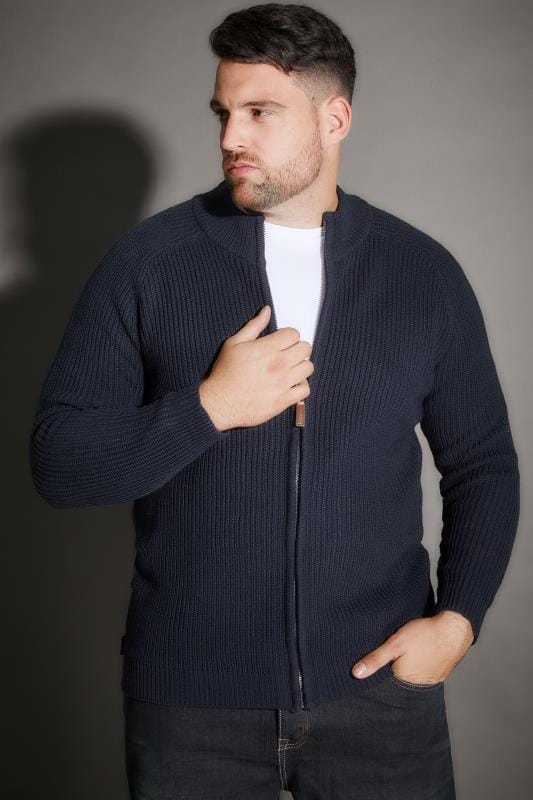 Cardigans BadRhino Navy Rib Knit Sweater With Funnel Neck 200345