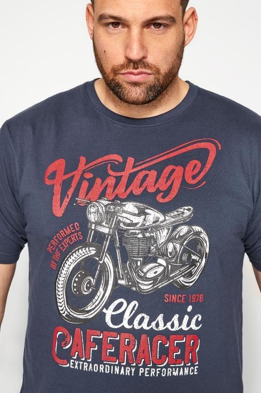 BadRhino Navy Cafe Racer Graphic Print T-Shirt