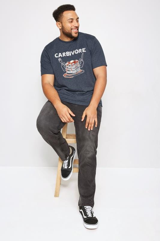 T-Shirts BadRhino Navy 'Carbivore' Pancake Print T-Shirt With Crew Neck 200449