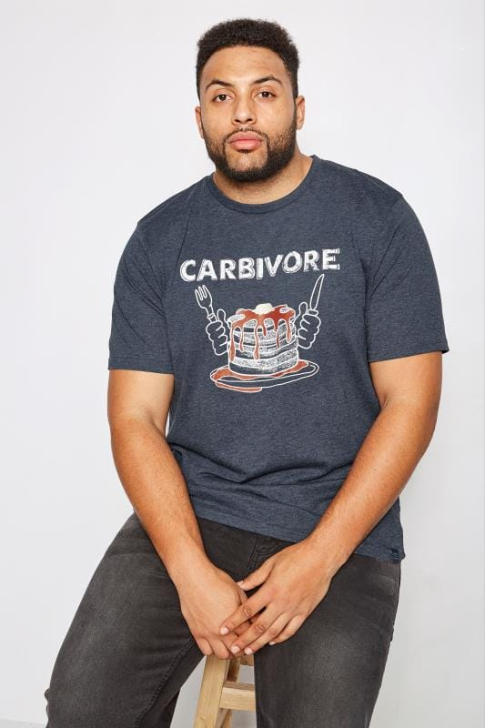 BadRhino Navy 'Carbivore' Pancake Print T-Shirt With Crew Neck