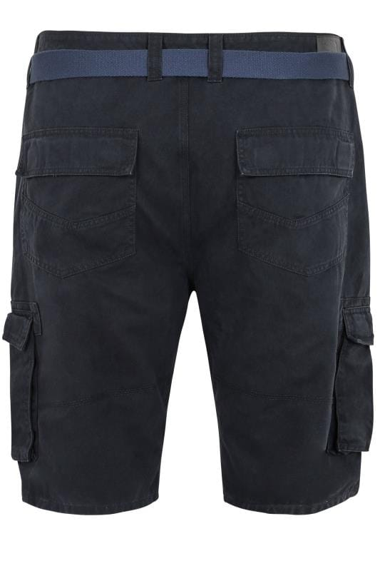 BadRhino Navy Cargo Shorts With Canvas Belt