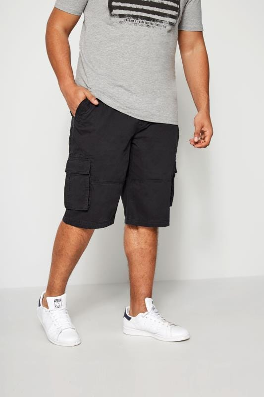 Plus Size Cargo Shorts BadRhino Navy Cargo Shorts With Canvas Belt
