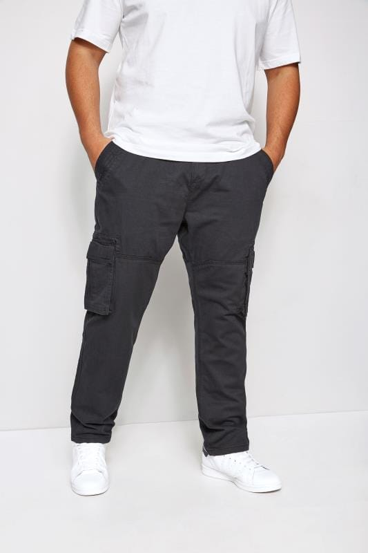 Plus Size Cargo Trousers BadRhino Navy Cargo Trousers With Utility Pockets & Canvas Belt