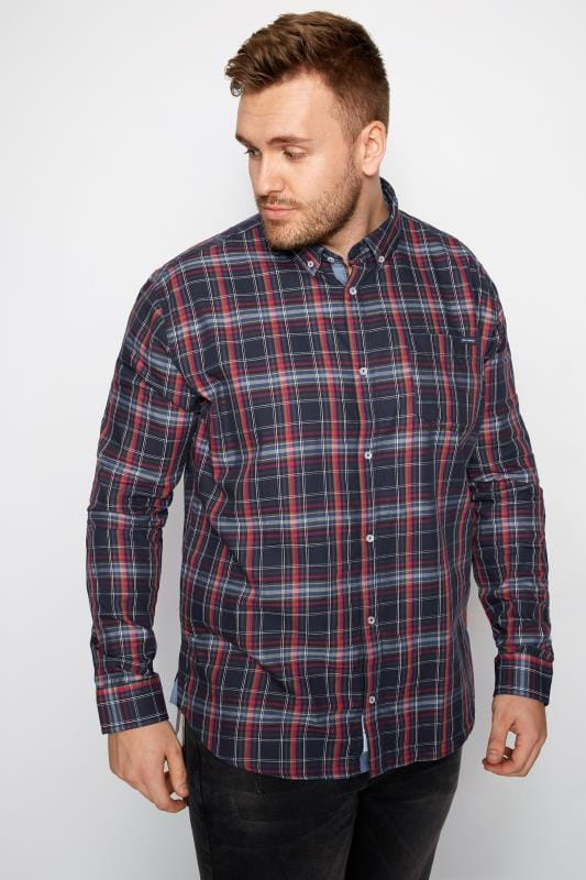 BadRhino Navy Checked Shirt With Chest Pocket