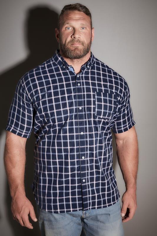 BadRhino Navy Checked Short Sleeved Shirt