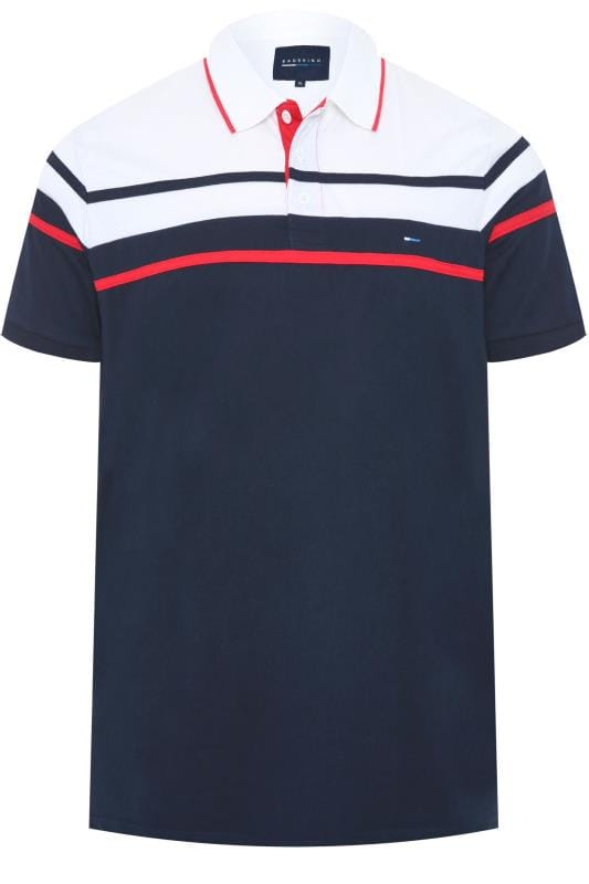 Plus-Größen Polo Shirts BadRhino Navy Chest Stripe Polo Shirt