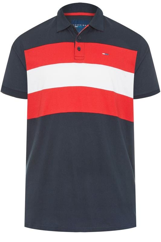 Polo Shirts Grande Taille BadRhino Navy Colour Block Polo Shirt