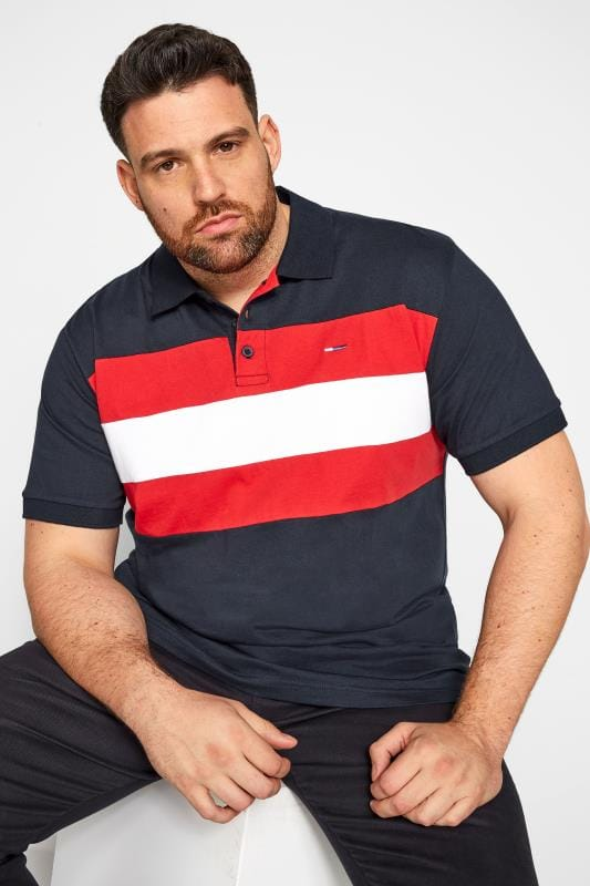 Plus Size Polo Shirts BadRhino Navy Colour Block Polo Shirt