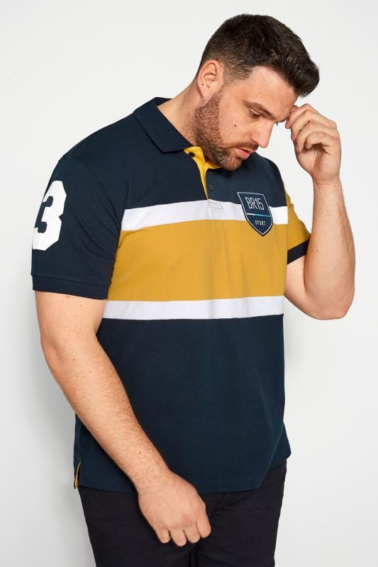 Plus-Größen Polo Shirts BadRhino Navy Colour Block Stripe Polo Shirt
