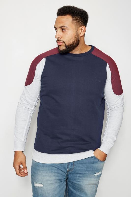 BadRhino Navy Colour Block Sweatshirt