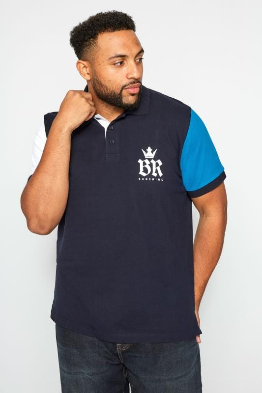 BadRhino Navy Contrast Sleeve Polo Shirt