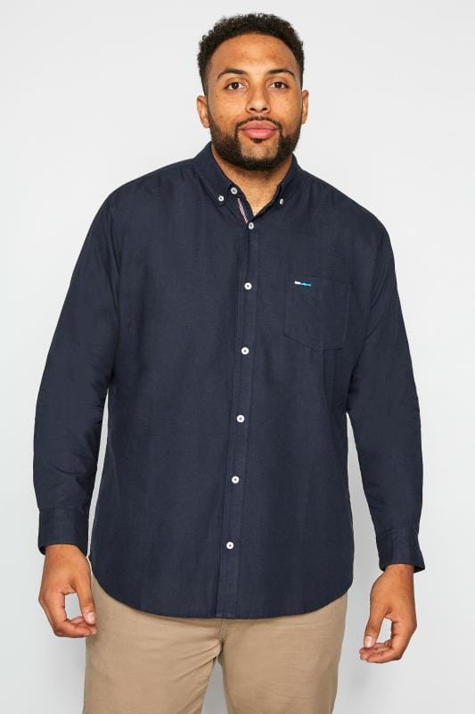 Smart Shirts BadRhino Navy Cotton Long Sleeved Oxford Shirt 201213