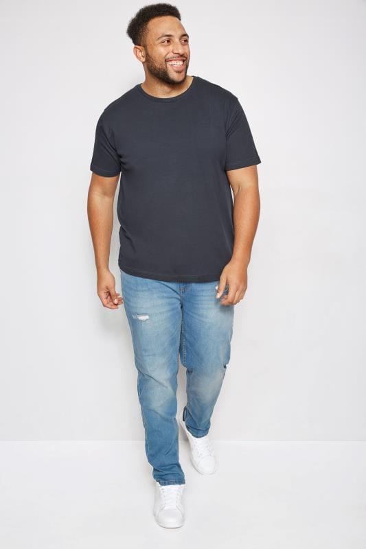 BadRhino Navy Crew Neck Basic T-Shirt