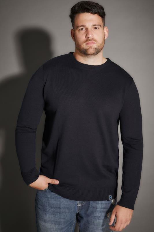 Jumpers Tallas Grandes BadRhino Navy Crew Neck Fine Knit Jumper