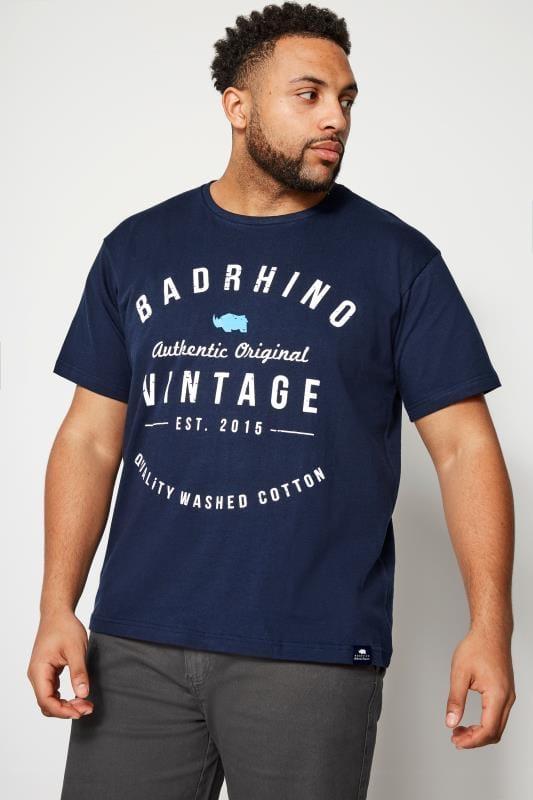 Plus Size T-Shirts BadRhino Navy Crew Neck Logo T-Shirt
