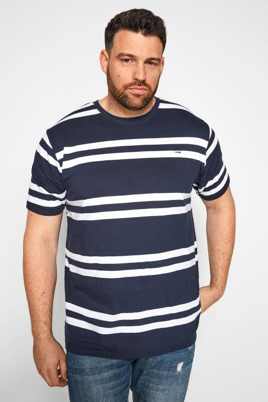 Plus Size T-Shirts BadRhino Navy Double Stripe T-Shirt