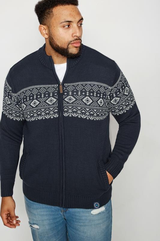 BadRhino Navy Fairisle Zip Through Sweater