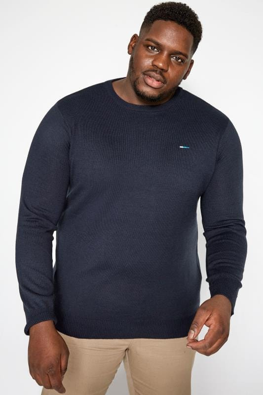Jumpers BadRhino Navy Fine Knit Crew Neck Jumper 201219