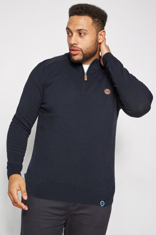 Plus Size Jumpers BadRhino Navy Fine Knit Zip Jumper