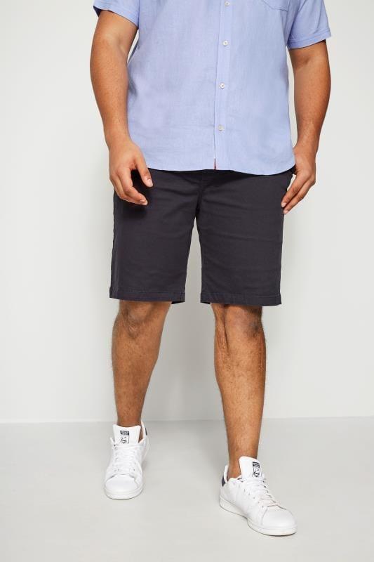 Plus Size Chino Shorts BadRhino Navy Five Pocket Chino Shorts With Belt