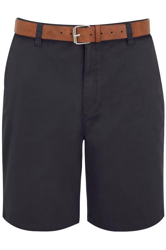 Men's Chino Shorts BadRhino Navy Five Pocket Chino Shorts With Belt
