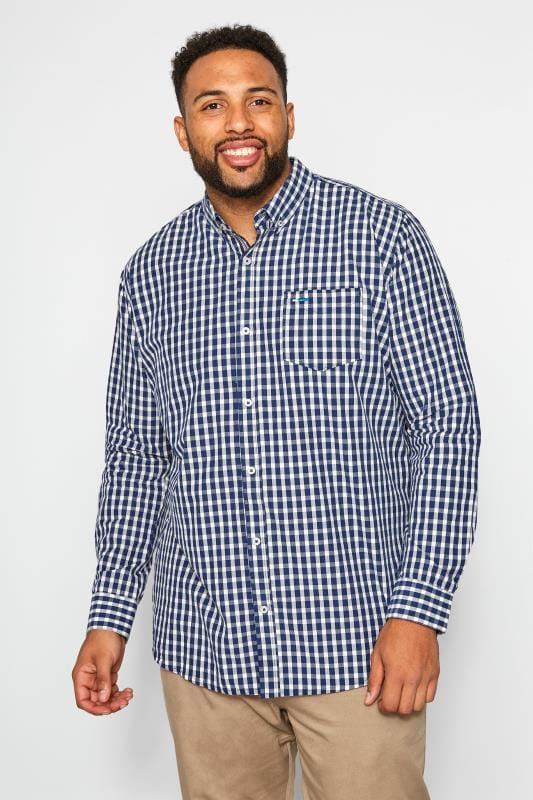 Plus-Größen Smart Shirts BadRhino Navy Gingham Check Shirt