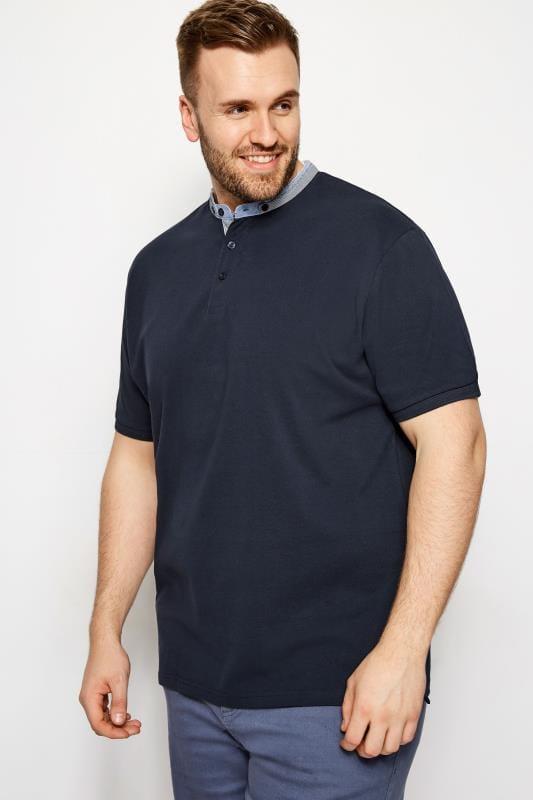 BadRhino Navy Grandad Polo Shirt