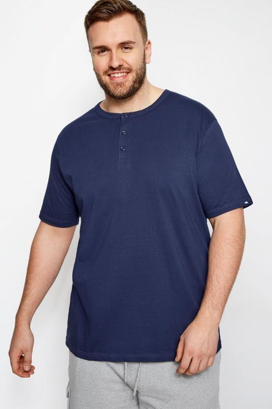 Plus Size T-Shirts BadRhino Navy Grandad T-Shirt