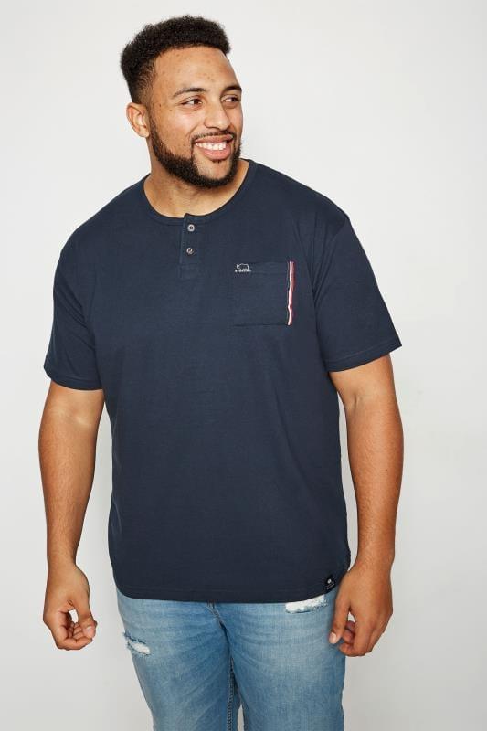 BadRhino Navy Grandad T-Shirt With Chest Pocket