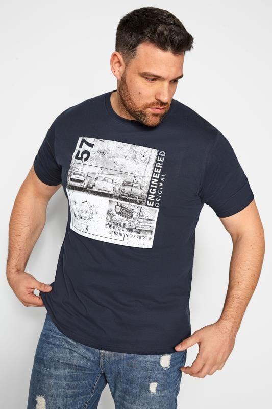 Plus-Größen T-Shirts BadRhino Navy Graphic Print T-Shirt