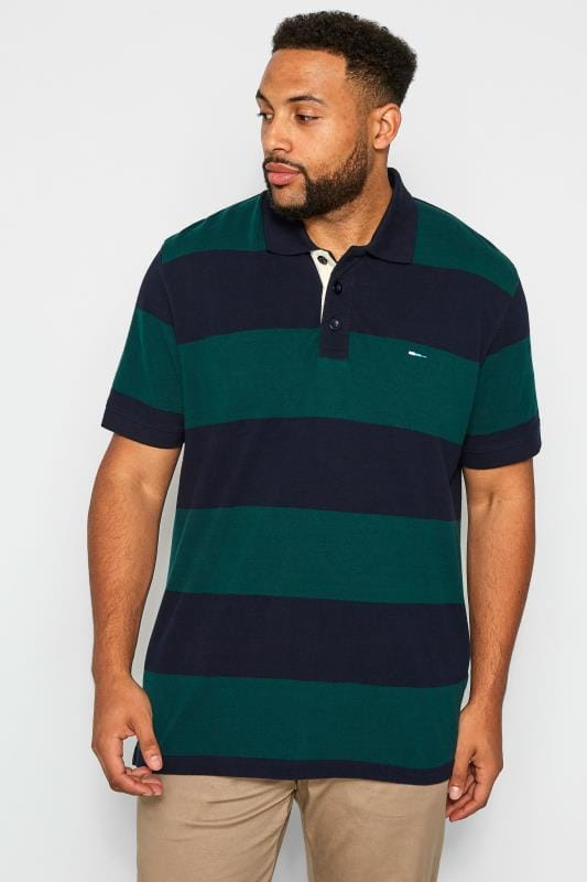 Plus Size T-Shirts BadRhino Navy & Green Block Striped Polo Shirt