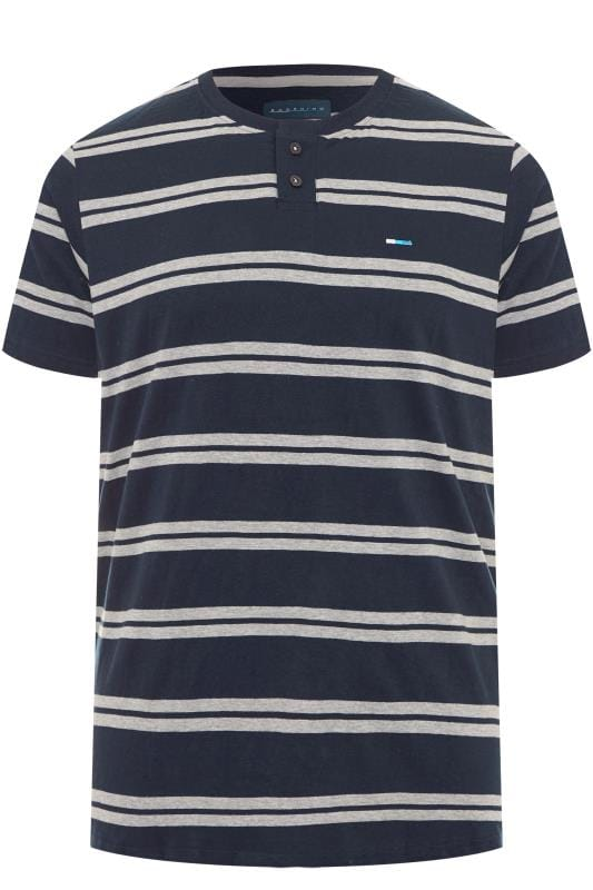BadRhino Navy & Grey Striped Grandad T-Shirt