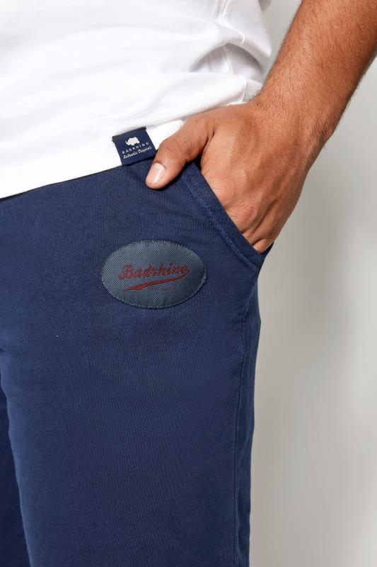 BadRhino Navy Jersey Shorts With Pockets & Logo Detail