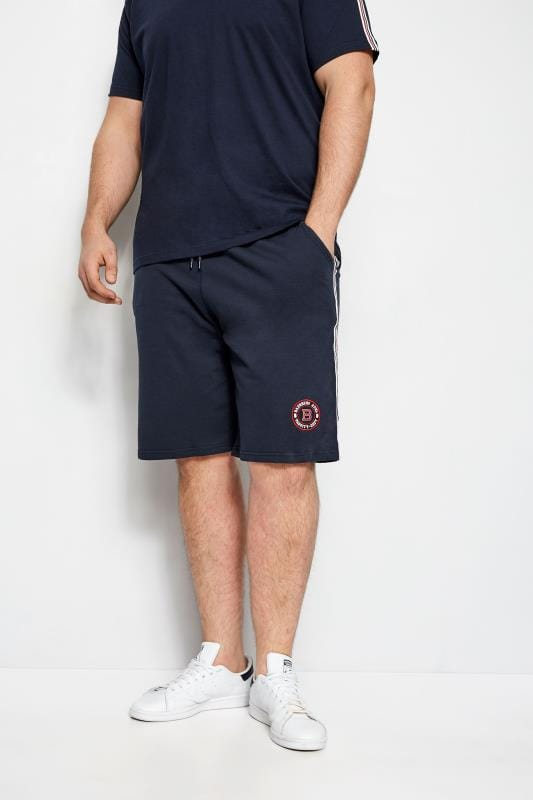 Jogger Shorts BadRhino Navy Jersey Sports Tape Shorts 200952