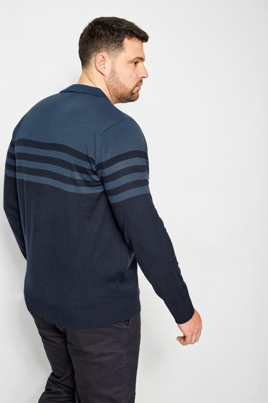 BadRhino Navy Knitted Stripe Polo Shirt