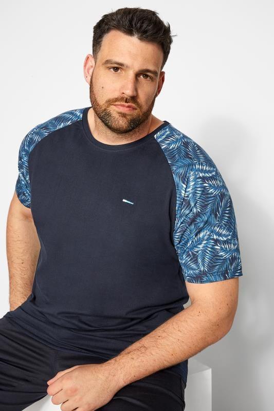Plus Size T-Shirts BadRhino Navy Leaf Print Raglan T-Shirt