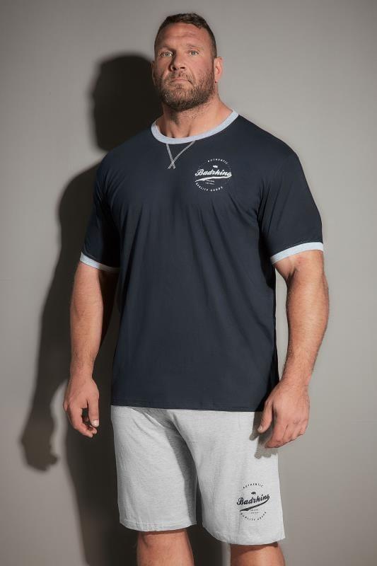 BadRhino Navy Logo Print Logo Pyjama Set