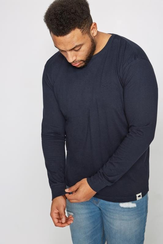 T-Shirts Grande Taille BadRhino Navy Long Sleeve Crew Neck T-Shirt