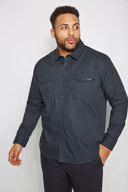 Plus Size Casual Shirts BadRhino Navy Military Shirt With Two Chest Pockets