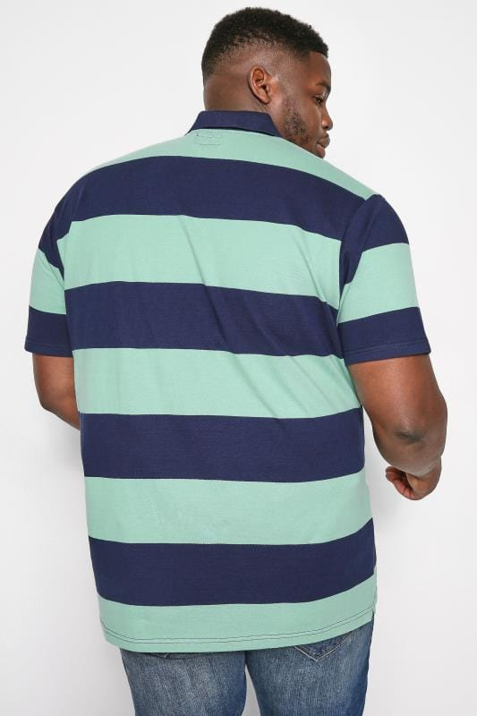 BadRhino Navy & Mint Green Block Striped Polo Shirt
