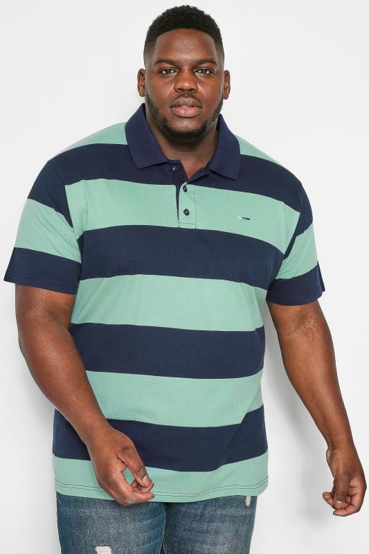 Polo Shirts Grande Taille BadRhino Navy & Mint Green Block Striped Polo Shirt